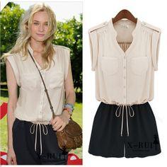 chiffon shirt pants suit - http://zzkko.com/n110052-ummer-new-2013-European-and-American-street-was-thin-chiffon-shirt-pants-Siamese-Siamese-clothes-XL-Womens-shorts-tide $16.33