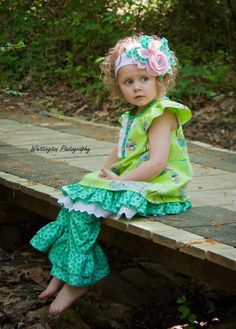 Ruffle Bloomers in Turq green polka dot by PeppermintPaisely, $29.95