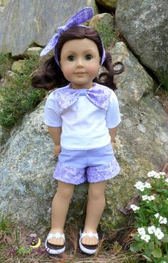Purple Paisley Summer Shorts Set includes shirt, shorts, hair tie, and sandals. All handmade in my home. $30.00