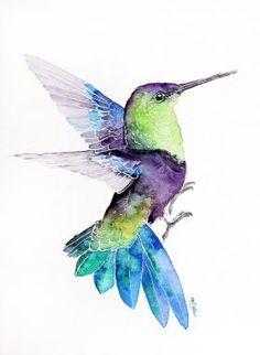 Flying Hummingbird-Original watercolors by Karolina Kijak