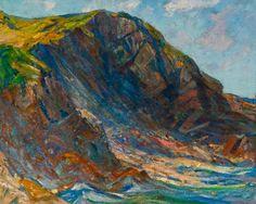"""The Cliff,"" Charles H. Woodbury, 1929, oil?, 29 x 36"", Ogunquit Museum of American Art."