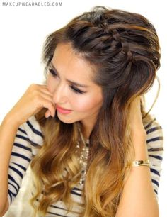 Love this for summer, and my hair is getting so long! Easy Braided Headband Hairstyles - hair tutorial