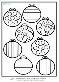 Vánoce - pracovní list, ozdoby, zraková percepce