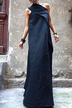 1654e18031a Maxi Elegant Black Linen One Shoulder Dress Unique Sophisticated  Extravagant Dress Perfect for different events