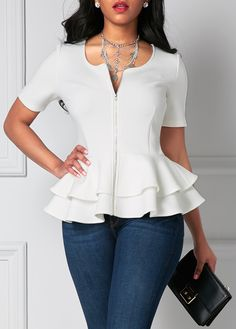 Short Sleeve Zipper Up Flouncing Layered White Blouse | liligal.com - USD $31.11