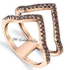 Rose Gold Chocolate Brown CZ Double Chevron Sterling Silver Womens Sz 5 6 7 8 9  #LittleWoodenJewelryBox #Band