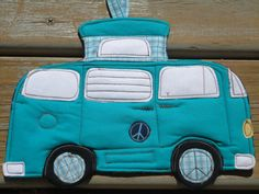 VW Camper Bus Potholder, 2012 Camping Potholder Series, Pick a Color. $16.00, via Etsy.