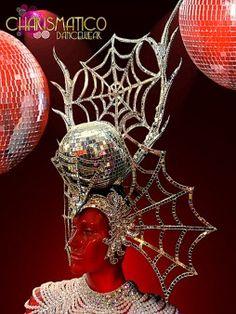 Fancy Silver Mirror Embellished Spider Man Disco Ball Diva DRAG Headdress