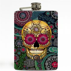 Our designs are printed on 3.75 mil vinyl using a patented process similar to those used to wrap race cars. The vinyl is waterproof, scratch proof, and will not fade. The flask holds 8 fluid ounces, made out of stainless steel, and comes with a screw top lid.