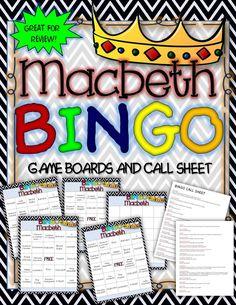 Macbeth Bingo: Instructions, Game Boards, and Call Sheet. BINGO CCSS RL.1, RL.2, RL.3a-b, d, RL.10, RI.1 ($)