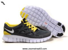 Nike Free Run 2 443815-017 Size 12 Anthracite White Black Sonic Yellow