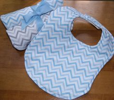 Boutique Baby Bib and 2 Burp Cloths Gift Set Modern Blue Gray Chevron for Boy or Girl by PurpleLadybugGifts on Etsy