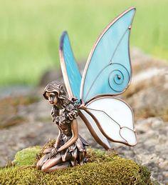 Pair of Kneeling Copper Fairy Statues