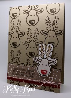 Stampin' Up! 2016 Holiday Catalogue Sneak Peak - Cookie Cutter stamp set & punch (reindeer), Candy Cane Lane DSP, Candy Cane Lane Washi, Candy Cane Lane Twine & Real Red Glitter Embossing Powder.  Kelly Kent - mypapercraftjourney.com.