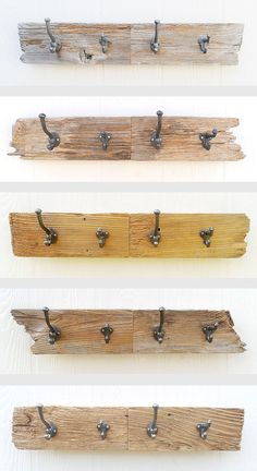 DRIFTWOOD four hook key, coat, hat, leash rack made with rustic reclaimed fence wood. $44.00, via Etsy.