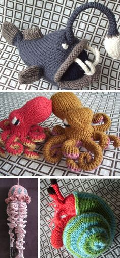 Knitting Patterns for Angler Fish, Octopus, Jelly Fish, Hermit Crab Amigurumi - These sea creature toys are included in the book Amigurumi Knits: Patterns for 20 Cute Mini Knits by Hansi Singh. Sizes depend on yarn weight. The book also includes other sea creatures including a giant skid, sea star, and sun star. Use wire and pipe cleaners to stabilize and pose the legs. Pictured project for jellyfish by jessdhill