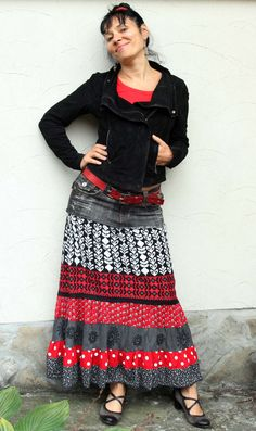 Long gypsy boho recycled skirt by jamfashion on Etsy, $75.00 - Incorporate recycled denim jean with serged skirt pieces...
