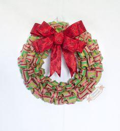 Christmas Chevron Burlap Bubble Wreath by Splendid Homecrafts on Etsy