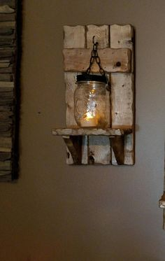 Mason jar Candle Holder Country Decor sconces Rusic Home Decor lantern shelf Mason Jar wood candle Housewarming gift priced 1 each Mason Jar Candle Holders, Rustic Candle Holders, Mason Jar Candles, Country Decor, Rustic Decor, Rustic Wood, Diy Wood, Barnwood Ideas, Country Homes