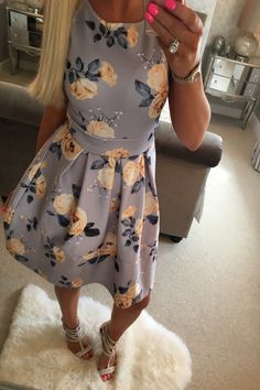 40e9749c7c76 Grey Yellow Rose Skater Dress