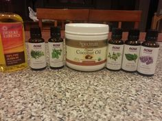 Hair and scalp treatment (for hair growth and dry scalp), using essential oils  4 oz jojoba oil (carrier oil) 12 drops of lavender (growth)  4 drops of thyme (growth) 4 drops of rosemary (growth) 4 drops of peppermint oil (dryness) 4 drops of tea tree oil (dryness)  Mix these ingredients well and then massage into scalp for 5 min.  Leave on for 30 min before washing.