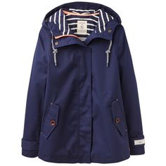 Joules Right as Rain Coast Waterproof Jacket, French Navy ($115) ❤ liked on Polyvore featuring outerwear, jackets, coats, coats & jackets, tops, french navy, waterproof hooded jacket, toggle jacket, water resistant jacket and blue jackets