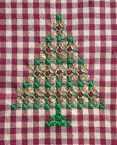 Hand Embroidery Christmas Tree on Gingham #embroidery