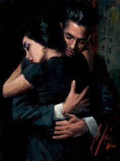 """""""The difference between a greeting hug and a farewell hug. –Painting by Argentinean artist Fabian Perez"""" Fabian Perez, Romance Arte, Portrait Art, Portraits, Double Exposition, The Embrace, Lovers Embrace, Damien Hirst, Classical Art"""