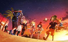『夕暮れに並んで帰るアローラ五人組』 Hau Pokemon, Pokemon Moon, Pokemon Ships, Pokemon Fan Art, Random Pokemon, Sun And Moon Game, Sun Moon, Pokemon Comics, Pokemon Memes