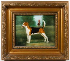 """Lot 362: Shipley (20th Century) """"Dog"""" Oil on Canvas; Undated, signed lower left, depicting a dog with a figure riding a horse in the background"""