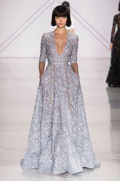 3/4 sleeve a-line lavender gown with embroidery. Ralph&Russo - alta costura primavera verano 2017