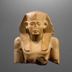 Egyptian Stone  Monumental Bust of Royal Statue Sesostris  #aboutaam #ancient #art