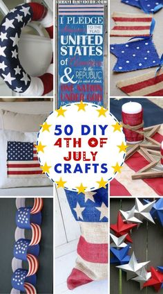 DIY 4th of July Crafts & Decor ideas for decorating your home with patriotic crafts! Patriotic Crafts, July Crafts, American Flag Crafts, Rolled Paper Flowers, Hanger Crafts, Pillow Crafts, Painted Flower Pots, Diy Banner, 4th Of July Decorations