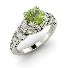 Natural Genuine Peridot & SI Diamond Engagement Ring In 14k White Gold- 1.0 Ct - Gemstone