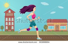 Young pretty girl running on the road town background, fitness, sport and healthcare concept. Vector illustration.