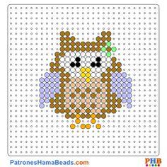 Búho plantilla hama bead. Descarga una amplia gama de patrones en formato PDF en www.patroneshamabeads.com