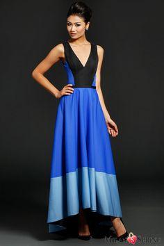 Elegant Multi-color Panels Features Mikado High-low Evening Dress