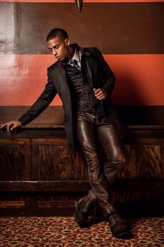 Men's leather jeans