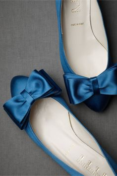 French blue, bow tie flats.
