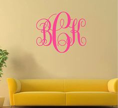 Monogramm Wall Decal, personalisierte Wall Decal Aufkleber, Initialen Wall Decal - Custom Wall Decal Monogramm Aufkleber, Kind Baby Name