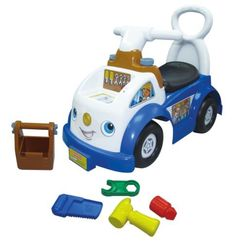 Fisher-Price Little People Ride-On by Fisher-Price. $39.99. Safe, durable engineering and construction. Push button on dashboard to hear a fun tune and additional sound effects. Includes under seat storage. Includes removable hand held tool box with hammer, wrench, screwdriver and saw. Use tools with interactive nail and screw on dash. From the Manufacturer                Your little handyman is ready to fix anything with this adorable ride-on. Hit the screw and nai...
