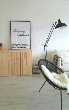 Living room - Andy Warhol quote - acapulco chair - zuiver lamp - cactus - ikea ivar