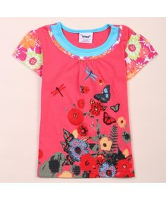 Skimmer Butterfly Flower Print Baby Girls Summer Basic Short Sleeve tshirt