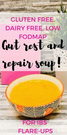 gluten free, dairy free low FODMAP soup is perfect for days when you don't feel like eating. It's easy to digest and contains plenty of soluble fibre and bone broth to help with resting and repairing the colon. An IBS and IBD friendly recipe. Fodmap Recipes, Gluten Free Recipes, Low Fodmap Foods, Ibs Fodmap, Eating Gluten Free, Dairy Free Foods, Gluten Free Soups, Gluten Dairy Free, Fodmap Meal Plan