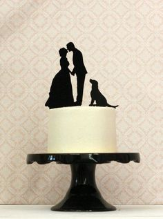 WITH DOG Custom Silhouette Wedding Cake Topper with your dog or pet and Personalized with your Silhouettes - Bride Groom Dog Cake Topper Custom Wedding Cake Toppers, Wedding Topper, Cool Wedding Cakes, Before Wedding, Our Wedding, Dream Wedding, Trendy Wedding, Cupcake Torte, Silhouette Wedding Cake