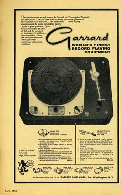 Sorry about the aging and coloration. It is interesting that the paper aged better than the 1958 paper. I'm trying to find a way to r. Turntable Cd Player, Hifi Turntable, Recording Equipment, Audio Equipment, Vintage Records, Vintage Ads, Vintage Modern, Diy Electronics, Electronics Projects