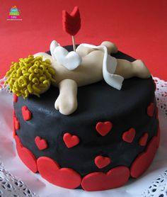 Cherub red hearts black #Valentines #cake  anti san valentino di zucchero