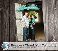 Banner Thank You Card Template - 5x7 and 4x6  Photoshop Templates by SaunterStudios, $8.00