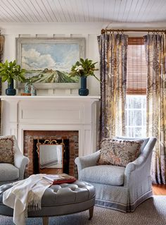 James Farmer interior design antebellum century southern plantation historic home Alabama Norman Askins architecture Atlanta Bedroom With Sitting Area, Sitting Rooms, Cozy Family Rooms, Family Room Curtains, Blue Ceilings, White Shiplap, Printed Curtains, Living Spaces, Living Room