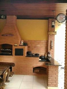 Se o espaço for pequeno, dá pra ter um mini fogão de lenha, sem a churrasqueira - granito preto Barbecue Area, Bbq Grill, Outdoor Spaces, Outdoor Living, Four A Pizza, Cooking Stove, Outdoor Cooking, Rustic Kitchen, House Plans